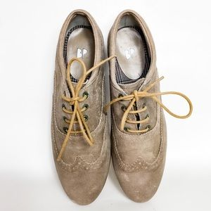 BP Grey Wingtip Lace Up Leather Oxford